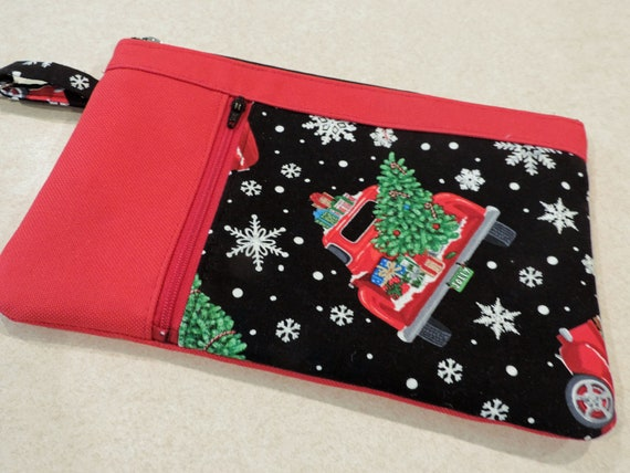 Holiday red truck clutch, christmas truck clutch, Christmas tree wristlet, double zip pouch, holiday purse organizer, snowflake clutch