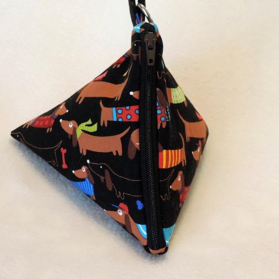 doxie triangle purse, dachshund pyramid pouch, doxies in sweaters pouch, pyramid doxie pouch, triangle pouch, fashion purse, dog coin purse