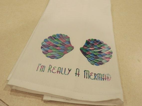 mermaid scales towel, mermaid dish towel, blue scales towel, I'm really a mermaid, beach lover gift, mermaid lover gift