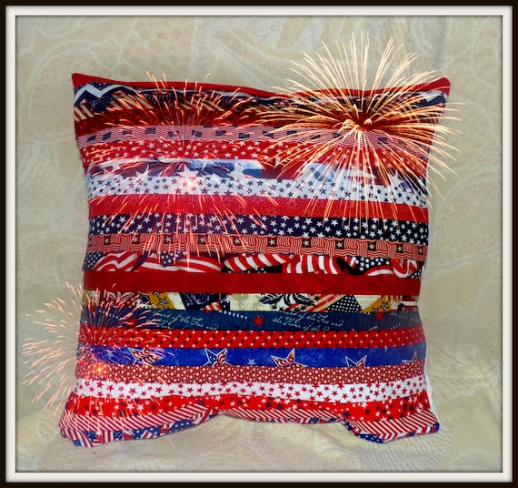 America pillow, Americana decor, Summer Pillow, Patriotic Pillow, USA Pillow, Red white and blue decor, flag pleated pillow, We stand pillow