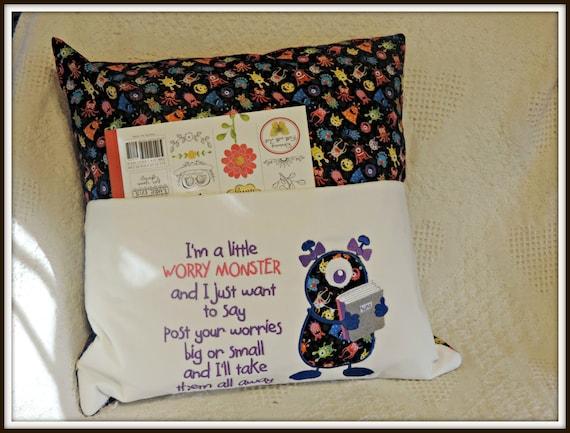 worry monster, reading pocket pillow, reading pillow, book lover gift, travel gift, book pocket pillow, gift for grandchild, gift for child