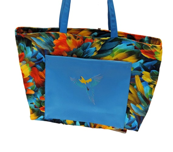 Parrot tote, parrot purse, parrot head tote, feathers tote, tropical purse, bird lover gift, summer bag