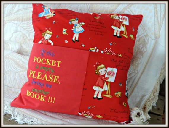 reading pocket pillow, retro pocket pillow with handle, reading cushion, encourage reading pillow, book lover gift, learn to read gift