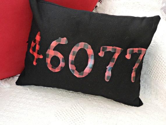 buffalo plaid zip code pillow, red plaid zip code, red plaid pillow, closing gift, housewarming gift, rustic home decor, zip code gift