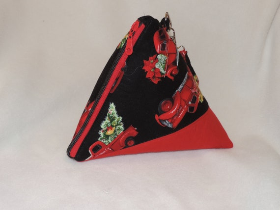 red truck purse, Triangle purse, top handled purse, pyramid red truck pouch, holiday wristlet, Christmas purse