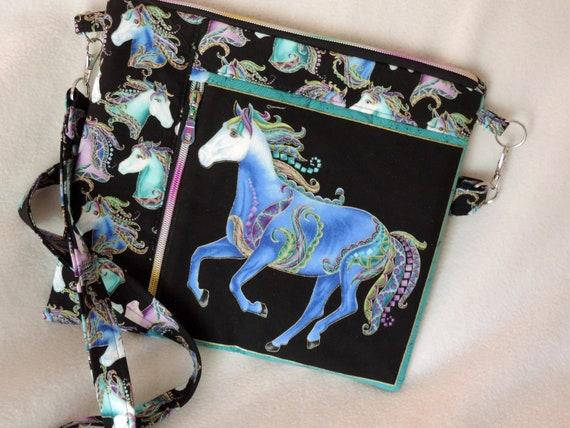 Horse crossbody bag, double zip horse bag, jewel tone horse bag, handmade crossbody bag, horse shoulder bag, horse lover bag,