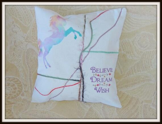 Unicorn pillow, unicorn watercolor art pillow, wish dream believe, watercolor unicorn, tween gift, dorm decor, luminescent unicorn