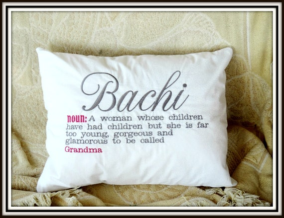 Bachi definition pillow, grandparents day gift, bachi brandma, Polish grandma, polish grandmother, pregnancy reveal to grandparents