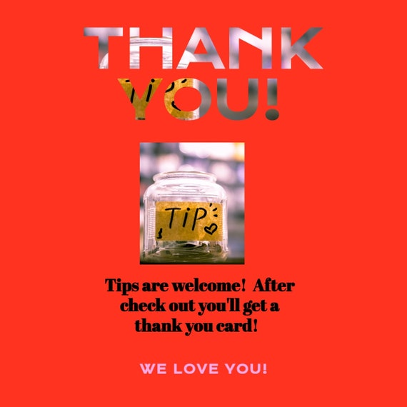 Thank you digital card, tips, Gratuity, thank you