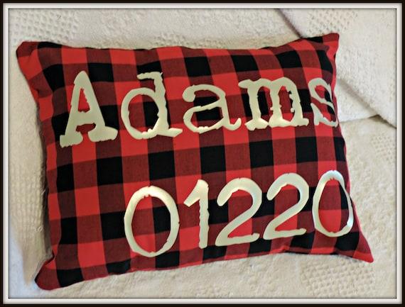 Christmas plaid pillow, zip code pillow, buffalo plaid pillow, secret santa gift at work, first Christmas, new home gift, agent closing gift
