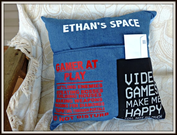 Gamer pillow, Your personal Space, Game Lover gift, Reading Cushion, Pocket pillow, Denim pillow, gift for gamer, personalized space
