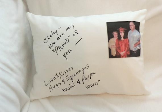handwriting pillow, graduation photo gift, graduation gift, Photo gift, leaving home gift, dorm decor, college student gift handwriting gift