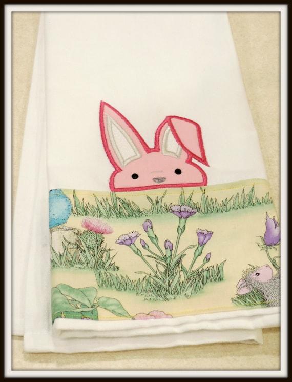Peeker bunny towel, easter dish towel, spring dish towel, peeping bunny towel