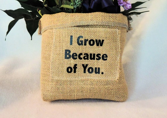 Burlap plant cover, plant pot cover, burlap slouchy basket, gift for teacher, Hessian plant cover, jute plant cover, funny plant holder