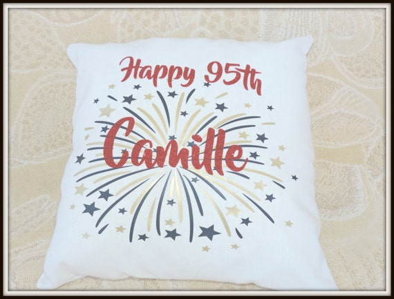 Happy Birthday Pillow, 100th birthday, 50th birthday idea Personalized birthday pillow, sparkly glitter fireworks