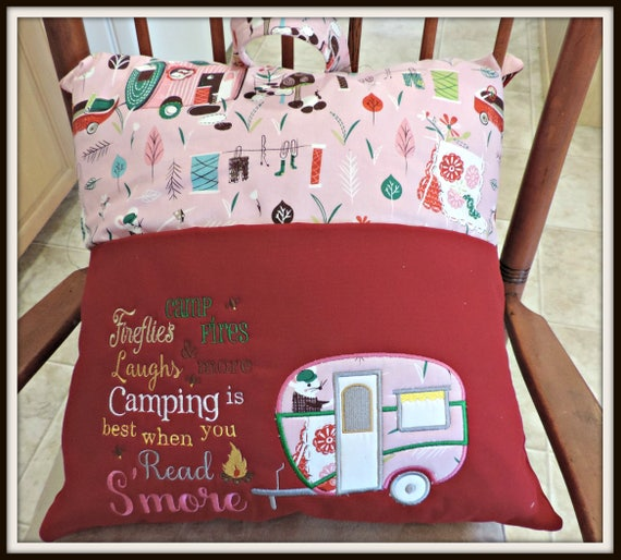 Camping pillow, camping reading pillow, glamper pillow, camping pillow, travel gifts for kids, book pocket pillow, vacation, summer camp