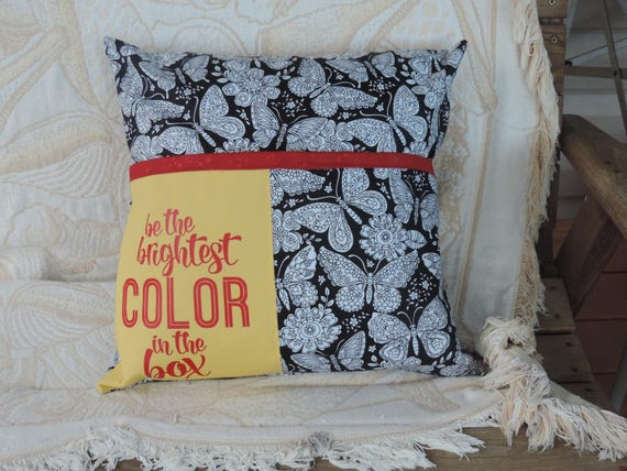 coloring pocket pillow, adult coloring pillow, color me pillow, coloring pocket pillow, coloring book pillowcase, coloring book lover gift
