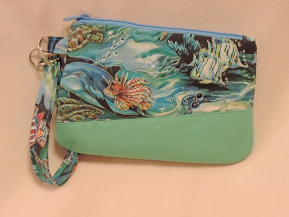 coastal wristlet, beach clutch, beachy bag, sea turtle bag, Ocean purse, cruise bag, vacation bag, resort wear bag