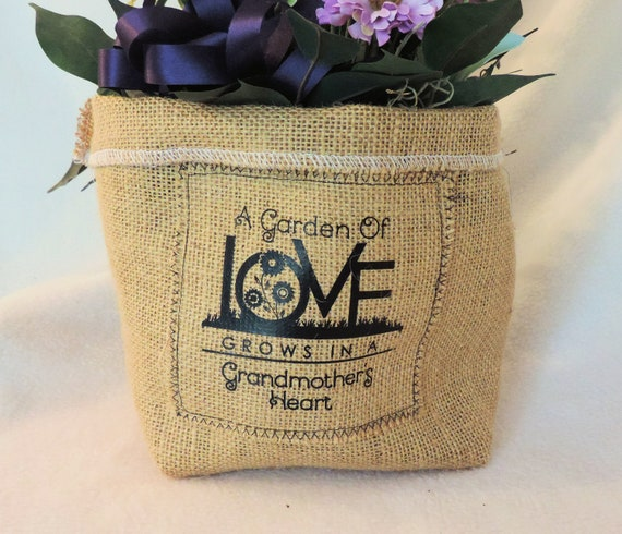 Burlap plant cover, plant pot cover, burlap slouchy basket, gift for grandma, Hessian plant cover, jute plant cover, funny plant holder