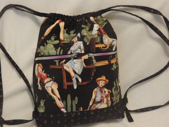 retro cowgirl purse, retro western bag, pinup cowgirl bag, handmade western bag, country girl bag, western duffle backpack, western backpack