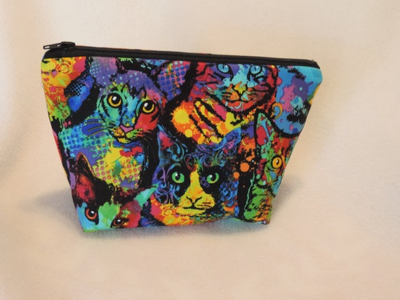 black cat toiletry bag, cat cosmetic bag, cat travel bag, cat lover gift, crazy cat lady gift, ready to ship bag, last minute gift