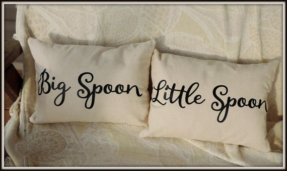Spooning pillow set, big spoon pillow, little spoon pillow, wedding couple gift, couples gift, couple bedroom decor, cotton anniversary gift