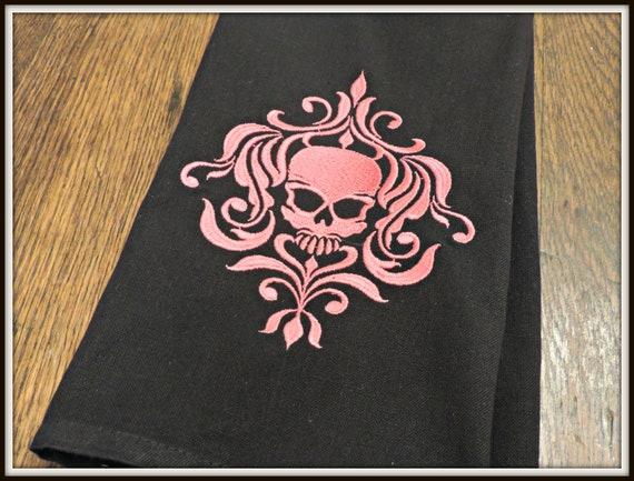 skull towel, skeleton towel, pink damask skull, day of the dead, zombie kitchen, skull kitchen, sugar skull decor