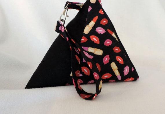 lips Triangle purse, top handled purse, pyramid lip pouch, lipstick wristlet, triangle pouch, fashion purse