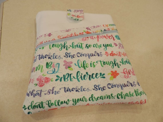 Girl Power book sleeve, book sleeve with pocket, Reading gift, book sleeve with closure, book protector, book lover gift for teen