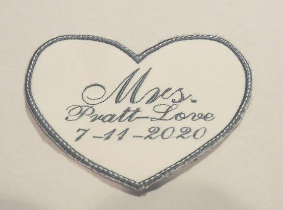something blue, bridal wedding dress patch, wedding gown label, gift for bride, bride monogram, engagement gift, wedding keepsake gift