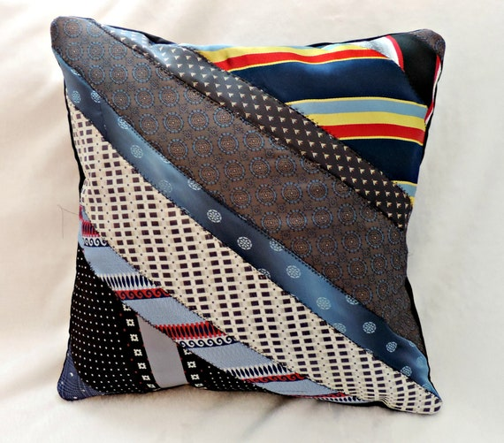 memory pillow from ties, remembrance pillow from ties, tie memorial pillow, in memory of dad, bereavement gift