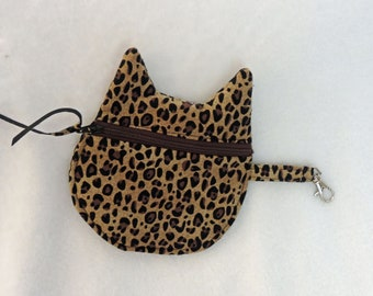 leopard coin purse, leopard pouch, cat Keychain Coin Pouch, Cat bag, Cat Keychain, cat purse charm, cat lover gift