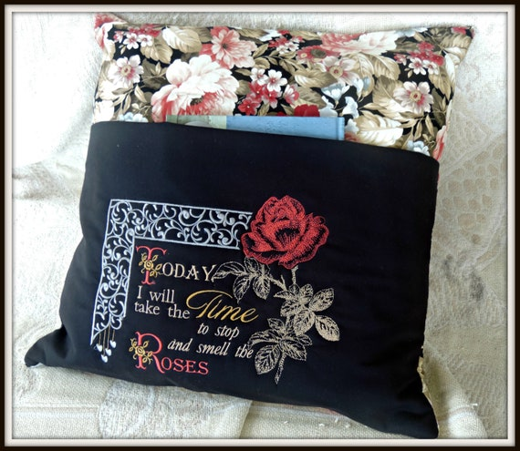 reading pocket pillow, reading pillow, book lover gift, travel gift, book pocket pillow, rose lover gift, grandmother gift, mom gift