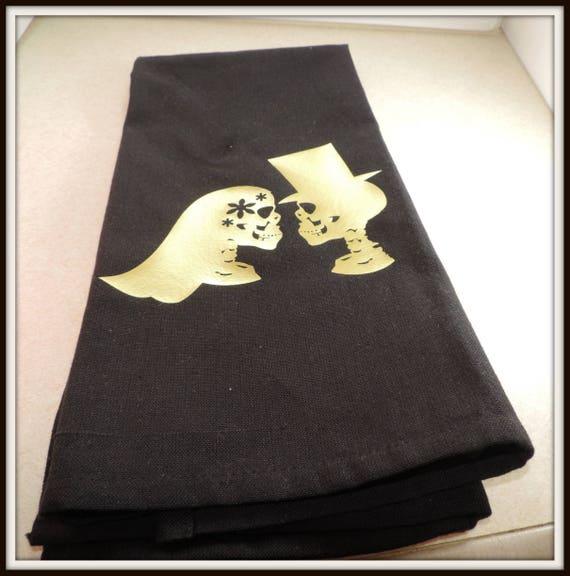 skeleton couple towel, skeleton bride, metallic gold skeleton, day of the dead, zombie kitchen, skull kitchen, sugar skull decor