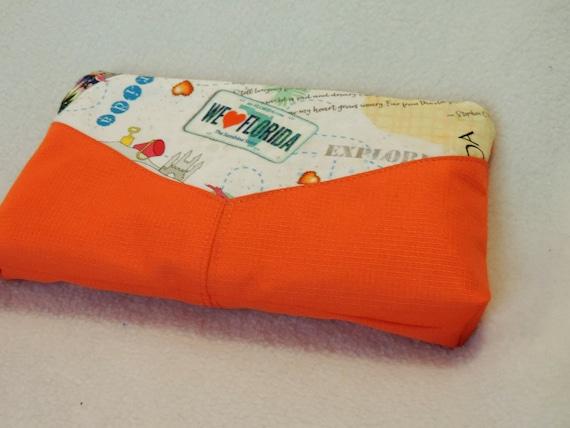 Florida clutch, beach clutch, florida purse, orange clutch, florida purse organizer