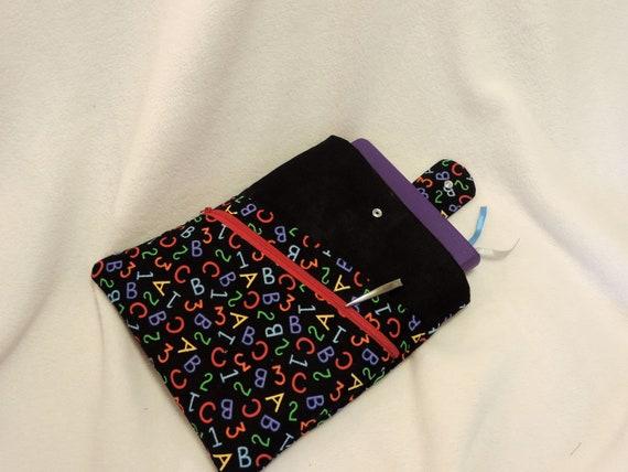 alphabet book sleeve, book sleeve with pocket, Reading gift, book sleeve with closure, book protector, book lover gift, teacher gift