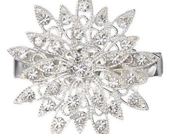 NEW Elegant Large Flower Rhinestone Hair Clip