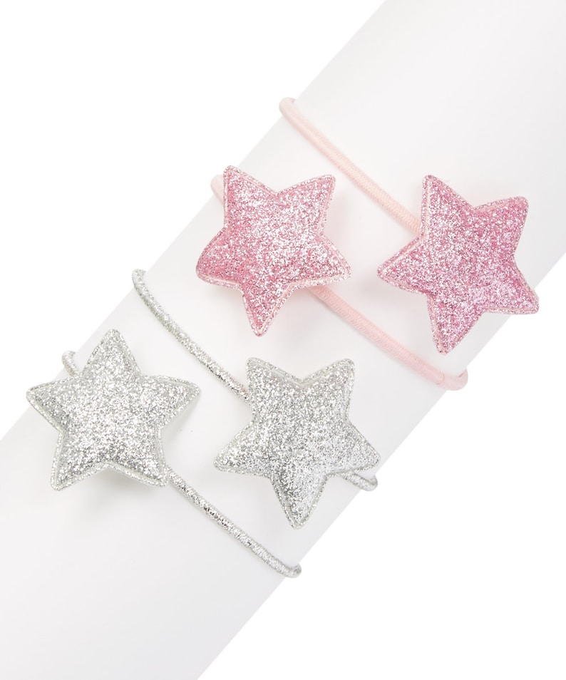 Sparkly Pink and Sparkly Silver Star Ponytail Set