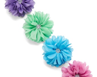 Set of Four Bright Flower Rhinestone Hair Clips
