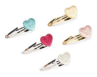 Set of 5 Gold and Silver Heart Snap Clips