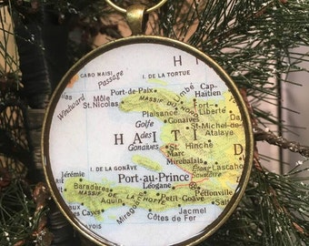 haiti map christmas ornament missionary gift honeymoon gift wedding map gift travel tree ornament corporate gift