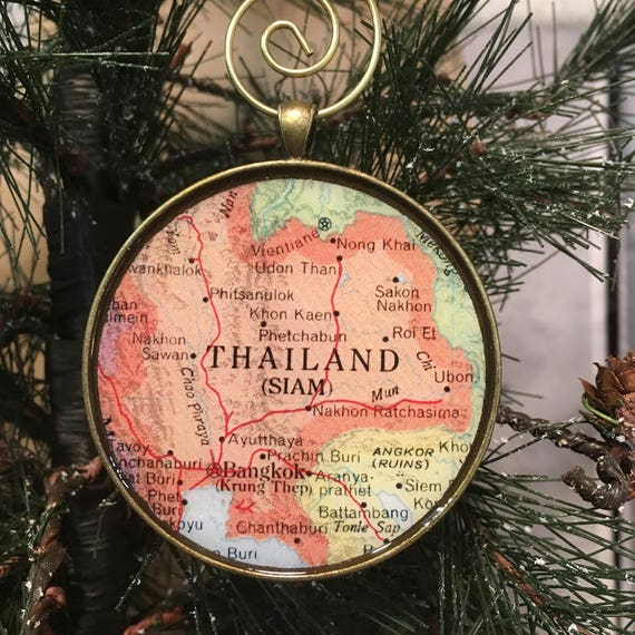 Cambodia Map Christmas Ornament Keep a memory Alive  HONEYMOON Gift  Wedding Map Gift  Travel Tree Ornament  Corporate gift
