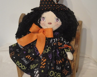 Primitive Witch rag cloth doll Halloween witch doll prim Halloween gothic rag doll handmade witch
