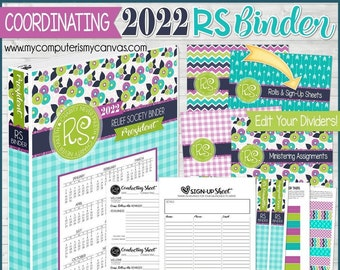 EDITABLE 2022 RS Binder Kit PRINTABLES, Relief Society Printables, Binder Dividers, Conducting Sheet, Sign-Up - Printable Instant Download