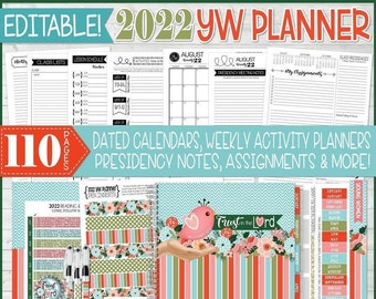 EDITABLE 2022 YW Planner, Young Women Presidency Planner, Trust in the Lord Theme, yw Theme Printables, LDS yw Theme - Instant Download