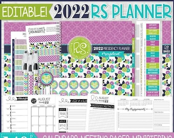 EDITABLE 2022 RS Presidency Planner, Relief Society Planner, LDS Planning Inserts, Calendar, Organizer - Printable Instant Download