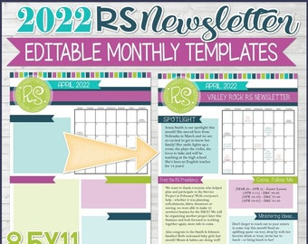EDITABLE 2022 RS Newsletter Template, Relief Society Newsletter Template, Printable Newsletter, Calendar, handout - Instant Download