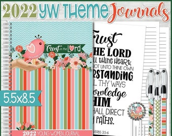 2022 YW Journal, LDS Young Women Notebook, Trust in the Lord, Proverbs 3:5-6, Half-Size 5.5x8.5 - PRINTABLE Instant Download
