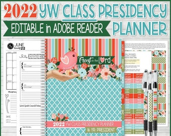 EDITABLE 2022 YW Class Presidency Planner, Trust in the Lord, Young Women Theme Printables, LDS Young Women Calendar - Instant Download