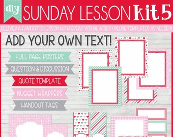 Sunday Lesson Kit 5, EDITABLE Blank Template, Handouts, Printable Lesson Planner, YW/RS, Sunday School, Bible Class - Instant Download Lisa